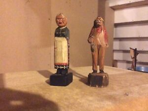 Hand carved Quebecquaise  wooden figurines.