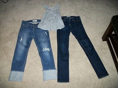 ABERCROMBIE CLOTHES LOT GREY GRAY TANK TOP SIZE SMALL - 2 PAIRS OF JEANS SIZE 16