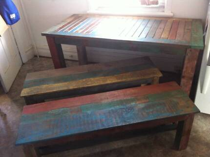 Rustic Dining Table and 2 x bench seats Marrickville Marrickville Area Preview