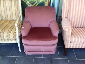 Bedroom chair armchair in soft rosé pink fabric low model Ashmore Gold Coast City Preview