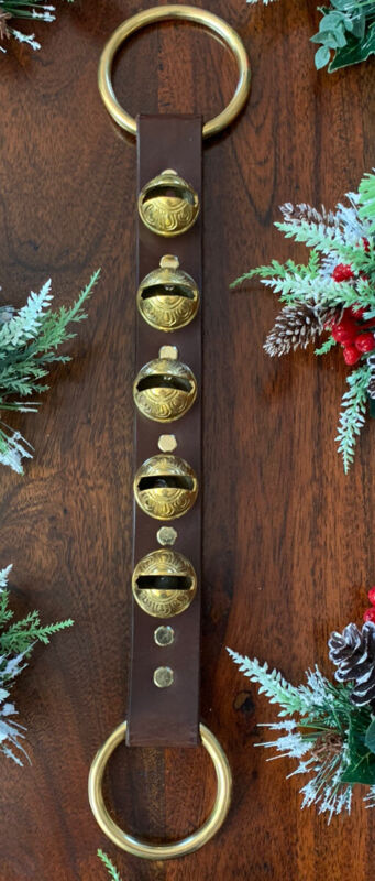 sleigh bells leather strap,dark Brown,brass bells,brass rings. Xmas,decorations
