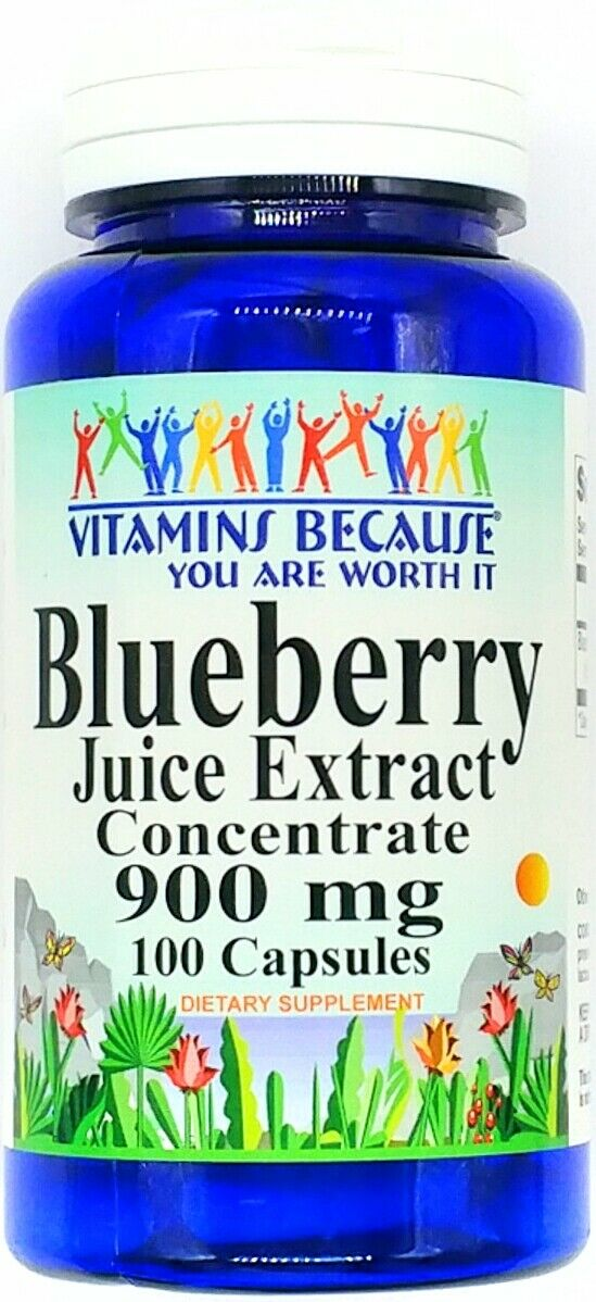 900mg Blueberry Juice Extract 100 Capsules Fruit Concentrate Supplement Pill VB