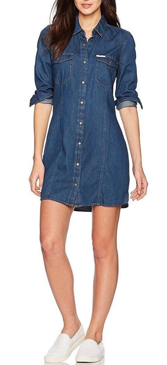 e8f43ac619e  NEW  Calvin Klein Jeans Women s Long Sleeve Denim Indigo Shirt Dress фото