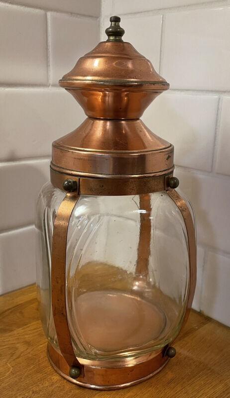 Vintage Hazel Atlas Lantern Style Copper & Glass Cigar Humidor Jar Canister