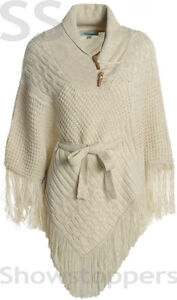 Size 8 10 12 14 16 KNITTED PONCHO Ladies CABLE Knit FRINGE Jumper Black Beige