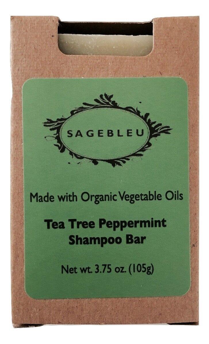 Sagebleu Organic Tea Tree Oil & Peppermint Shampoo Bar Soap,