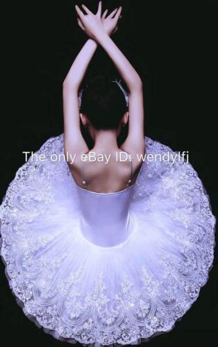 Professional Ballet Platter Tutu Skirt Dance Dress White Snow Lac Ballet Costume