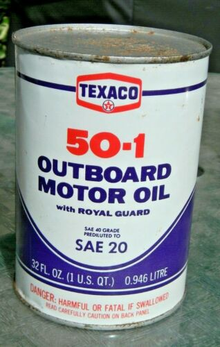 Texaco 50-1 Outboard Motor Oil Can - Full - Steel Can
