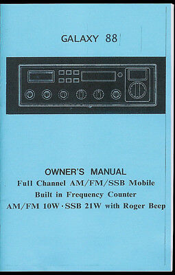 Copy* Galaxy DX 88 HL AM FM SSB 10 Meter Ham Radio Roger Beep Owner's Manual  for sale  Shipping to Canada