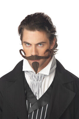 The Gambler Mustache & Goatee Set Brown Synthetic Hair Character Costume Set