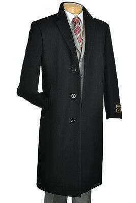 Wool Single Breasted 3 Button - Men's Trench Over Coat Single Breasted 3 Button 48