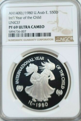 1980 UNITED ARAB EMIRATES S50D YEAR OF THE CHILD NGC PF 69 ULTRA CAMEO SCARCE