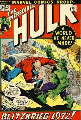 Marvel Comics Incredible Hulk - INCREDIBLE HULK #155 F, 1st SHAPER OF WORLDS, Marvel Comics 1972 Stock Image
