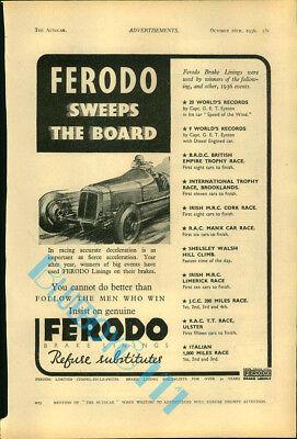 Ferodo brakes Advert Autocar Olympia Motor Show Guide 1936 Original