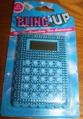 Bling It Up Calculator Bright Blue New In Pkg   Adds Up To Stylish Fun
