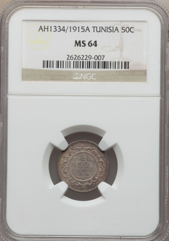 AH 1334 1915-A Tunisia 50 Centimes NGC MS 64