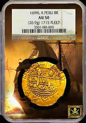 Click now to see the BUY IT NOW Price! PERU 1699 8 ESCUDOS DOUBLOON NGC 50 1715 FLEET SHIPWRECK  ONLY 5 KN GOLD COB