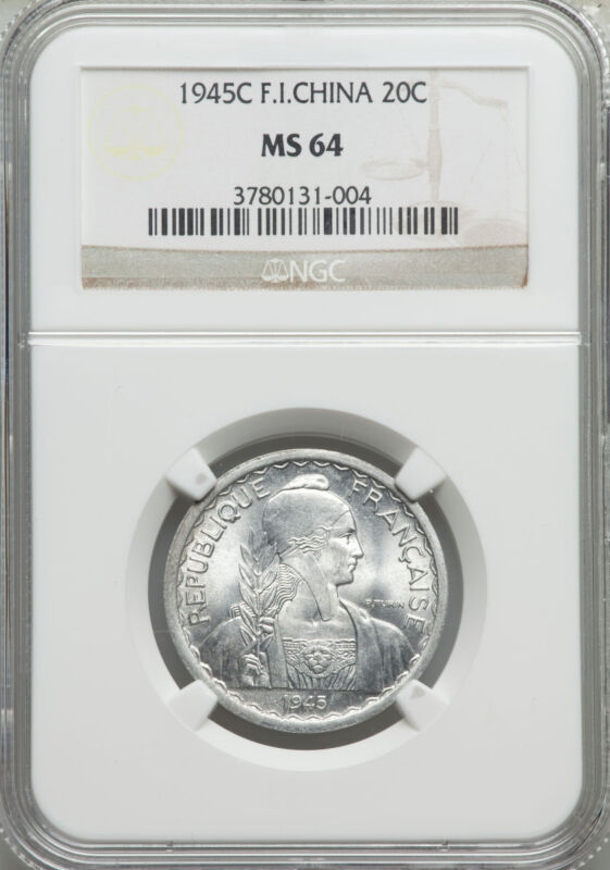 1945-C French Indo-China 20 Cents NGC MS 64 Cochin Vietnam None Finer @ NGC