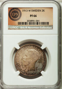 SWEDEN SILVER Gustaf V Proof 2 Kronor 1913-W NGC PF66 EX.NEWMAN COLLECTION  TOP!