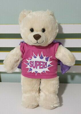 BUILD A BEAR  TEDDY BEAR BROWN EYES SUPER HERO SHIRT AND CAPE 40CM VANILLA COLOR (Build A Bear Superhero)