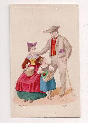 Vintage CDV Handbemalt Family Alsace Frankreich Traditionell National Kostüm
