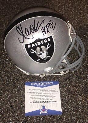 Marcus Allen Signed Oakland Raiders Mini Helmet HOF 03 Inscript Beckett 10/21/17