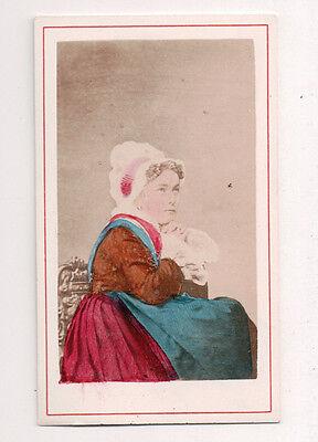 Vintage CDV Handbemalt Dame von Dijon Frankreich Traditionell National Kostüm