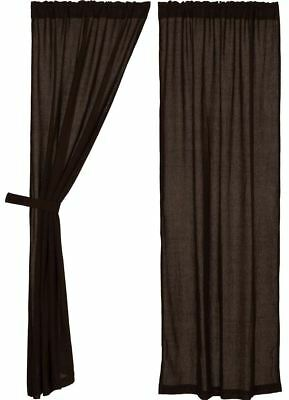 """84"""" Long Burlap Chocolate Brown Cotton Rustic Country Window Curtains Tie Backs"""