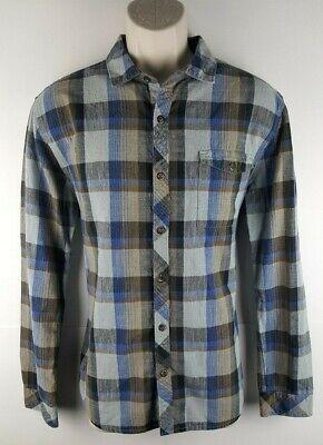 Billabong Mens Long Sleeve Button Front Plaid Shirt Sz Medium 100% Cotton EUC