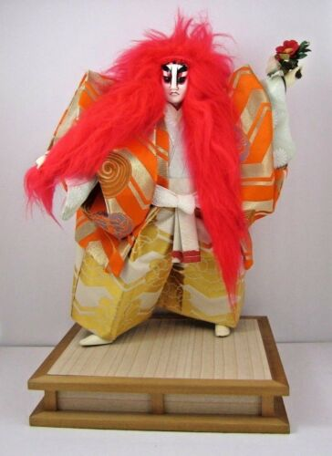 Rare Japanese Kabuki Red Lion Dancer Doll Renjishi Theater Folklore Silk Play
