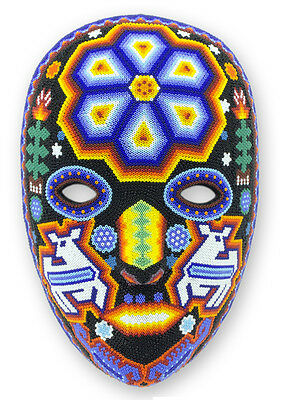 Huichol Indian Mask Wall Art Hand Beaded Shaman Deer God's Messenger NOVICA