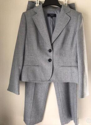 JONES WEAR Women's Size 10 Two Piece Pant Suit Light Gray Poly Jacket + Trousers