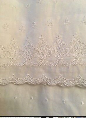 Absolutely Shabby Chic White Embroidered Batiste Balloon Window Valance New WOT