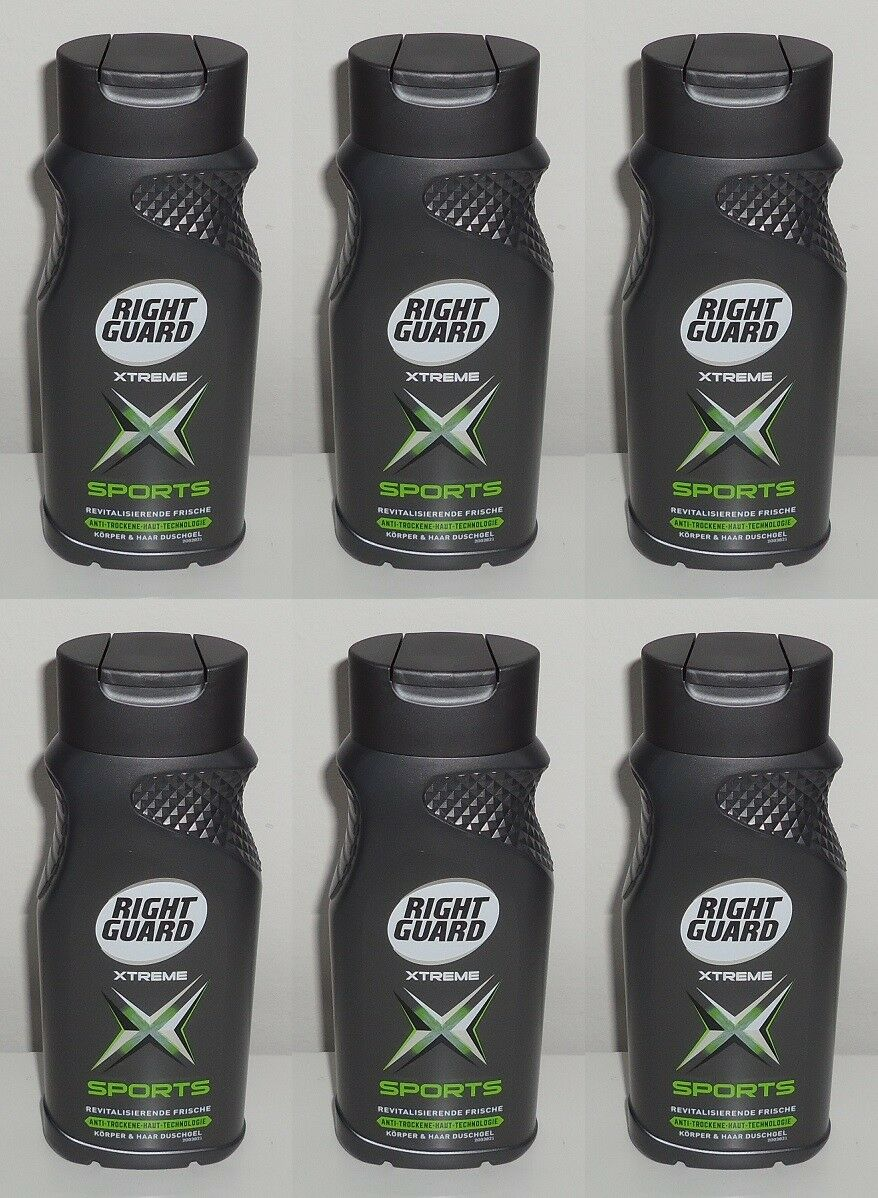 (1L=7,27€) 6x Right Guard Xtreme Sports Körper & Haar Duschgel, 6x250ml