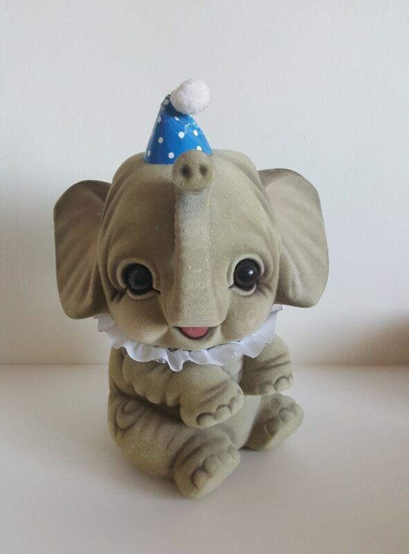 """Vintage Antique 10"""" ELEPHANT Childrens Piggy Bank Faux Fur RARE!"""