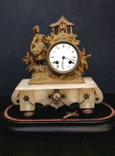 ANTIQUE FRENCH GILT BRASS & ONYX TABLE CLOCK ART DECO BREVET 2459