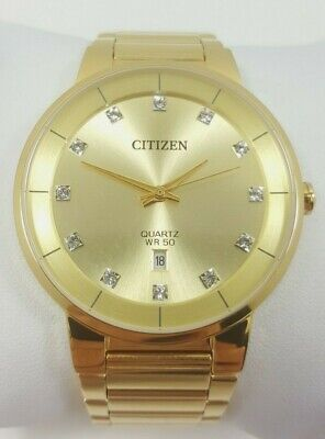 Citizen Quartz Crystal Accent Gold Tone Stainless Steel Men's Watch G111-S112702