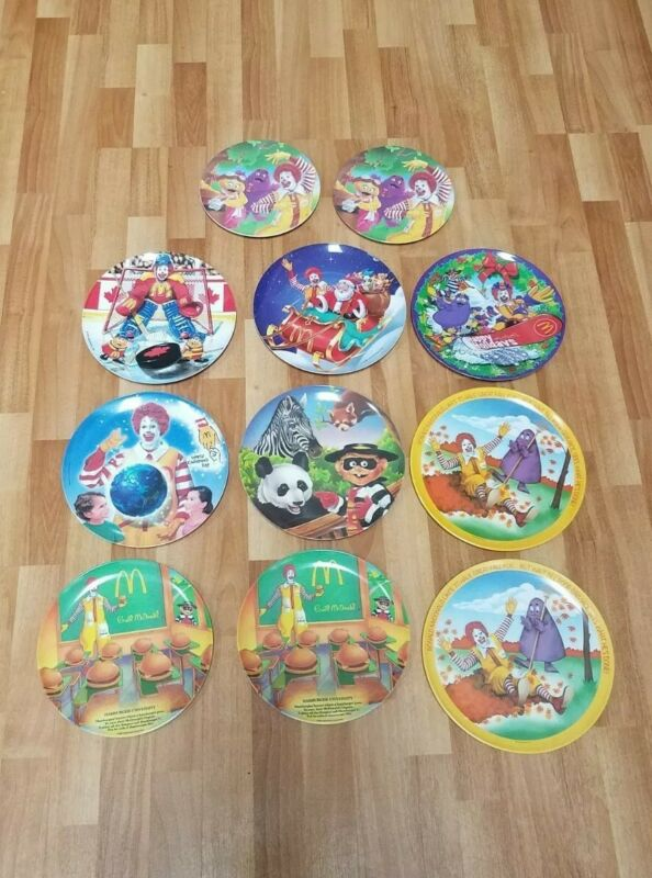 11 McDonalds Plates 1977-2004, Ronald, Christmas, Fall Season