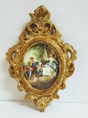 Vintage Florentine Gilt Framed Art Made in Italy Nicolas Lancret  L