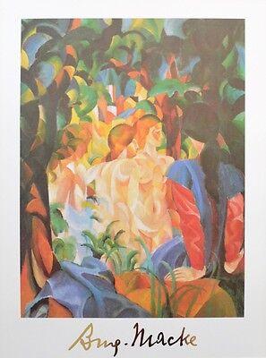 August Macke Mädchen nehmen ein Bad Poster Kunstdruck Bild 80x60cm