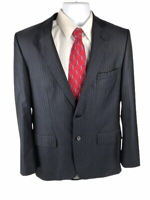 Zara Man Mens Striped Suit Coat Blazer size 42 Black 2 Button Dual Vent