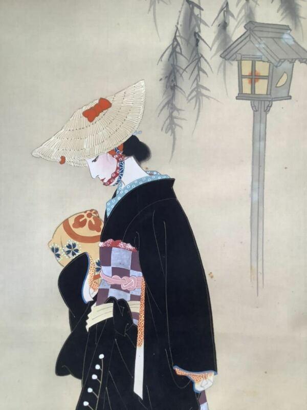JAPANESE PAINTING HANGING SCROLL JAPAN Old Art Geisha VINTAGE BEAUTY Japan e412