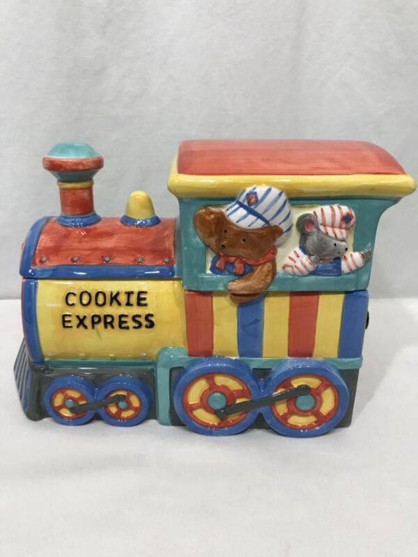 Vtg Cookie Jar TRAIN LOCOMOTIVE Teddy Bear Conductor Cookie Express COOKS CLUB