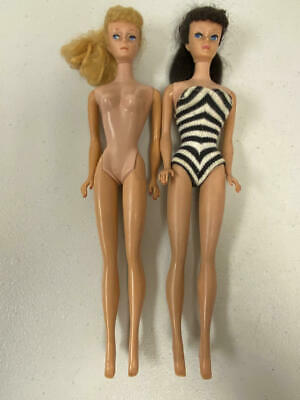 VINTAGE BLONDE AND BRUNETTE PONYTAIL BARBIE LOT #6 OR #7 POOR CONDITION