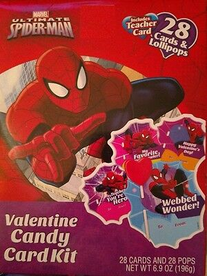(Marvel Ultimate Spider Man 28 ct Valentines Day Cards w Lollipops Party Supplies)