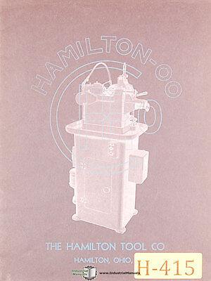 Hamilton Tool 00 Spr Gear Hobbing Machine Operations Manual