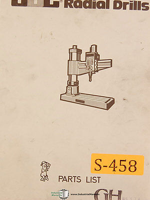 Southbend Gh Radial Drill Parts Manual Year 1979