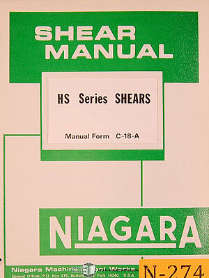 Niagara Hs Series Shears C-18-a Operations And Maintenance Manual 1976