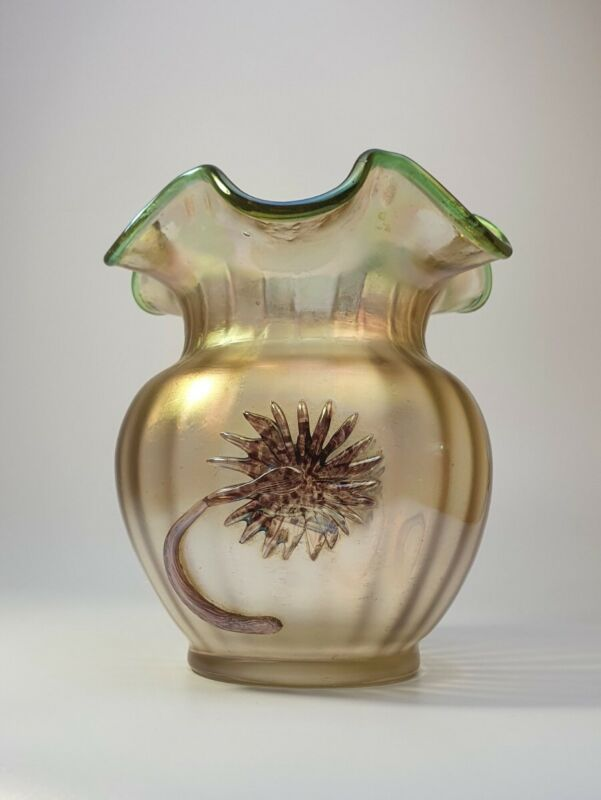 Rare c1930 Claw Kralik Iridescent Vase Loetz Bronze Colour Glass Art Nouveau