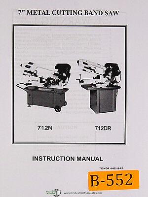Birmingham 712n 612dr 7 Metal Cutting Band Saw Instruction Parts Manual